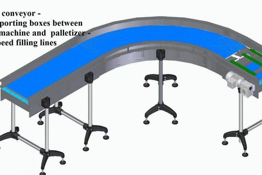 Modular conveyor for transporting boxes