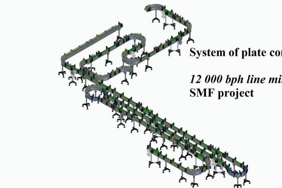 system of plate conveyors on the 12,000 bph line