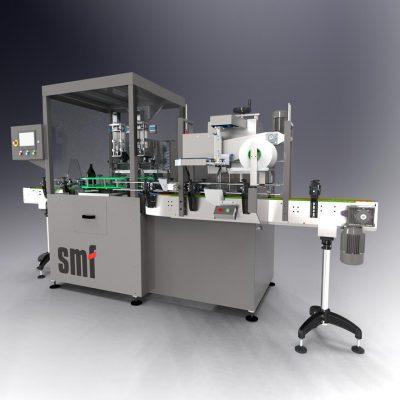 Máquina para aplicação de decoração de papel em tampa de garrafa