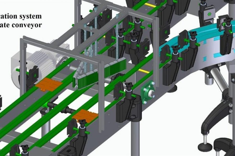 Separation system on a plate conveyor